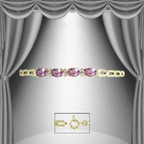 24: 3.8 CT Amethyst and Diamond Marquise Bracelet