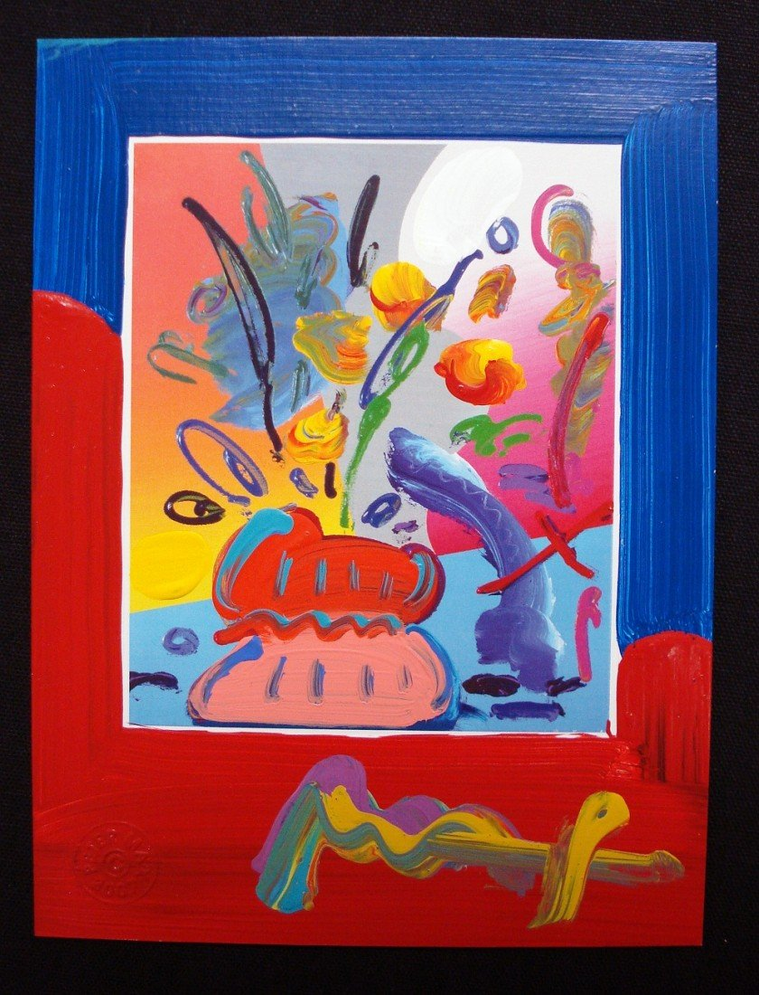 """40: """"Vase with Flowers XII"""" by Peter Max"""