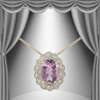 4: 2 CT Amethyst Diamond Egg Pendant Necklace