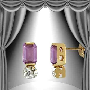 7: 1.3 CT Emerald Cut Amethyst and Diamond Earrings
