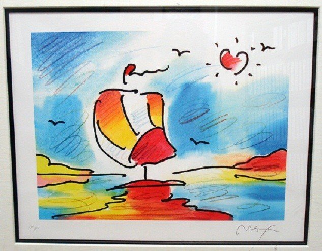 """23: """"Sailboat with Heart"""" by Peter Max"""