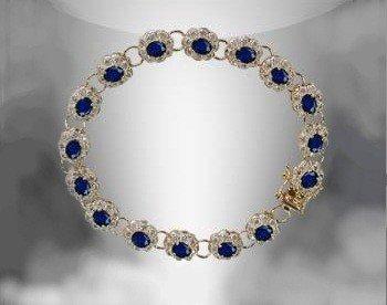 10: Genuine 9 CT Midnight Blue Sapphire Diamond Bracele