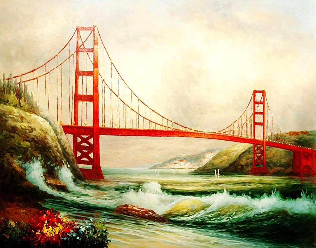 "2: 100% Hand-Painted Oil Painting ""The Golden Bridge"""