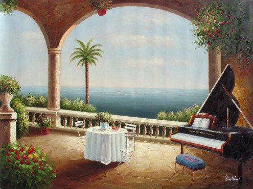 "4: Large Handmade Oil Painting ""Balcony View"""