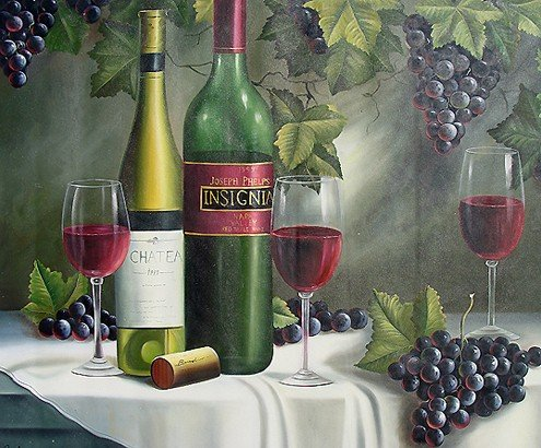"5: ""Wine and Grapes""  Handmade Oil Painting"