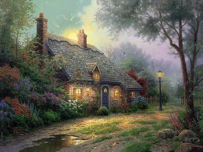 6: Thomas Kinkade Moonlight Cottage
