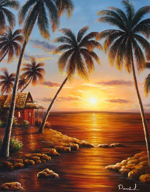 "15: Hand-Painted Oil Painting ""Prayers at Sunset"""