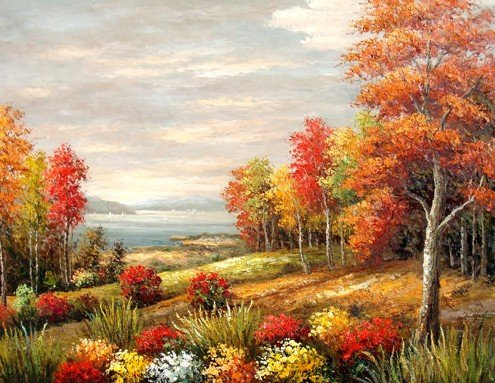 "17: 100% Hand-Painted Oil Painting ""Autumn's Colors"""