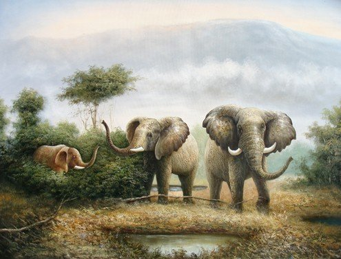 "19: ""Elephant Pride""  Unique Handmade Oil Painting"