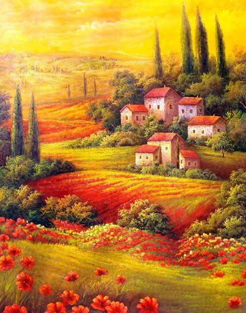 "113: ""Rolling Hills of Tuscany""  Handmade Oil Painting"