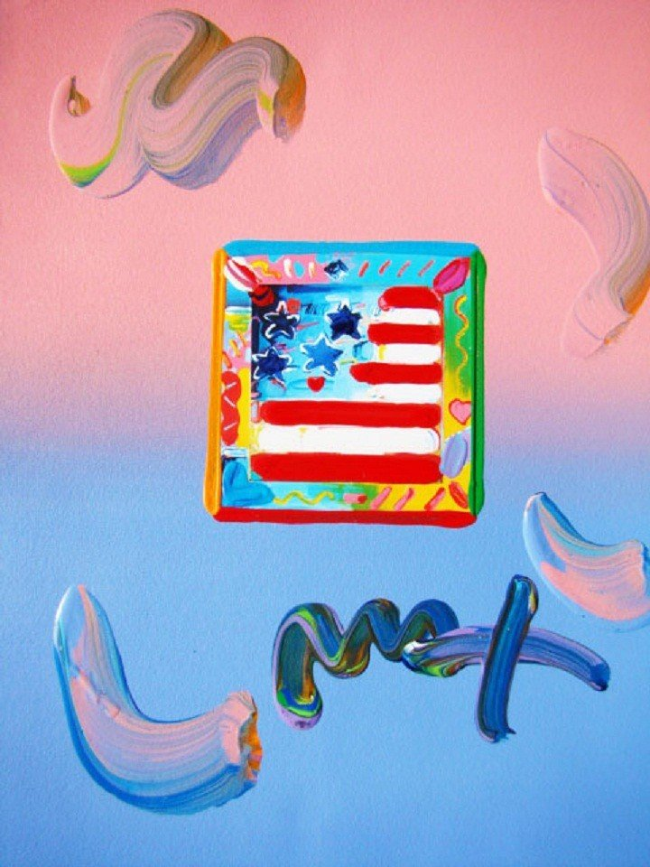 "3: ""Flag with Heart"" by Peter Max Hand Signed"