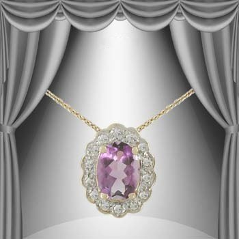 4: 2 CT Amethyst Diamond Egg Pendant Necklace