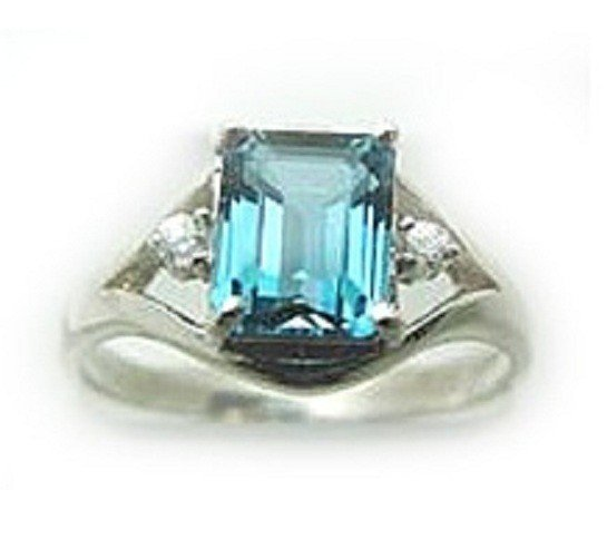 11: 2.10 CT Blue Topaz Diamond Ring Appraised $2,600