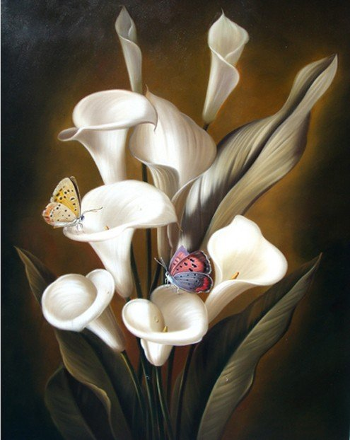 "14: ""Calla Lillies"" Hand Painted Meditative Oil Paintin"