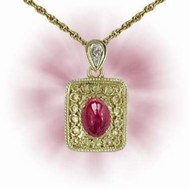 17: Genuine 1 CT Cabochon Ruby Diamond Pendant