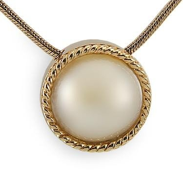 20: Genuine 12.5mm White Mobe Pearl Necklace