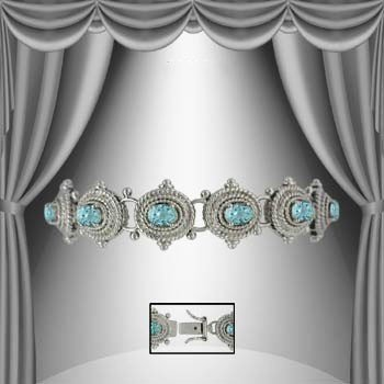 22: Genuine 7 CT Blue Topaz Silver Antiqued Bracelet
