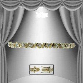 """PRECIOUS HEART""  1.35 CT Diamond Bracelet 18k Gold"