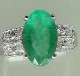 1.65 CT Emerald Diaomond Ring Appraised $9,450