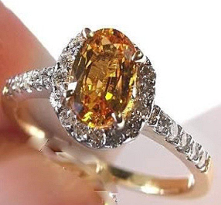 33: 2.10 CT Yellow Sapphire Diamond Ring Appraised $4,3