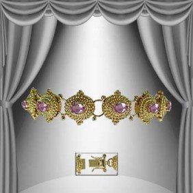 Genuine 7 CT Amethyst Gold Antiqued Bracelet