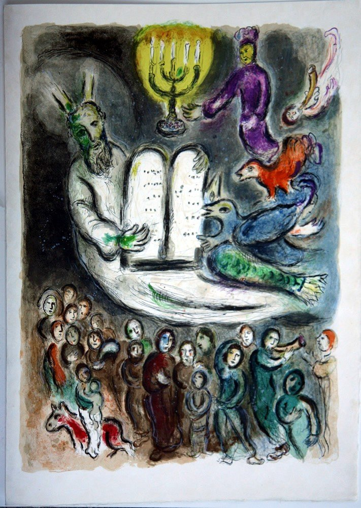 48: Chagall MOSES AND THE TABLETS OF LAW Lithograph