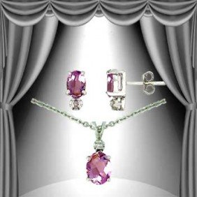 3.2 CT Amethyst Diamond Solitaire Suite