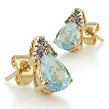 169: 3 CT Blue Topaz Diamond Teardrop Earrings