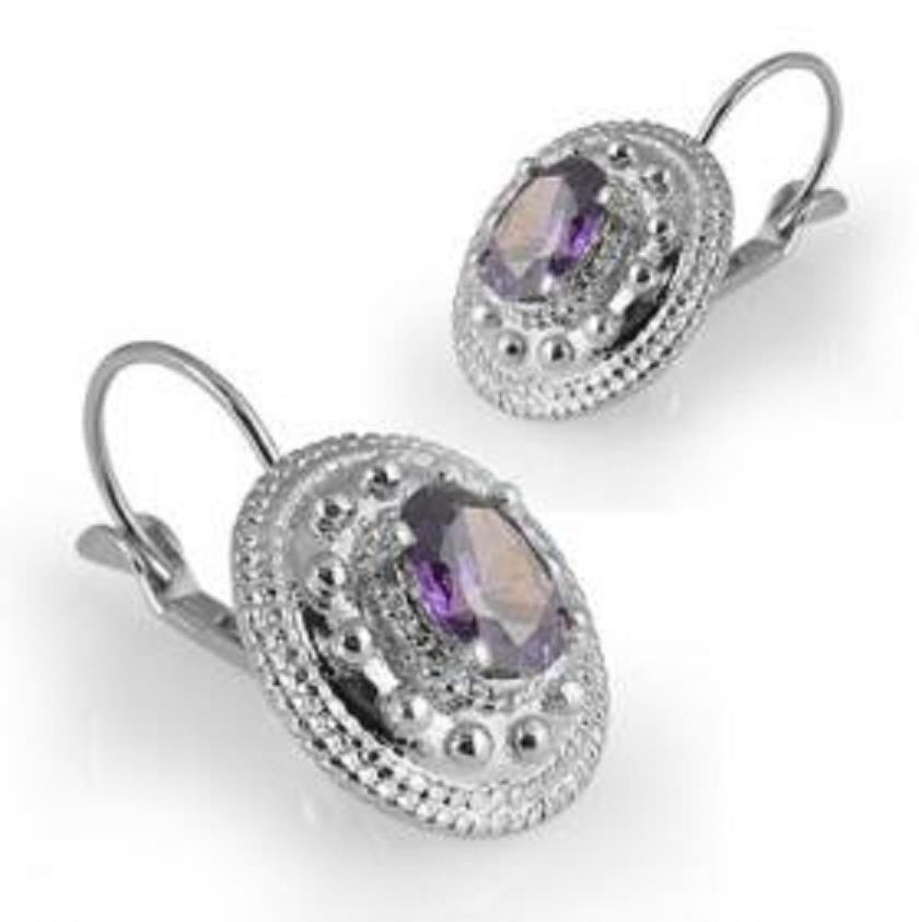 172: Genuine 1 CT Amethyst Silver Leverback Earrings