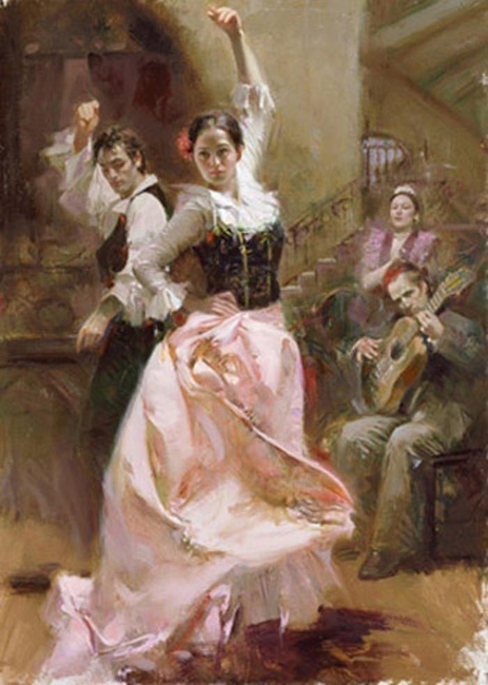 174: Pino DANCING IN BARCELONA Ltd Ed. Giclee on Canvas