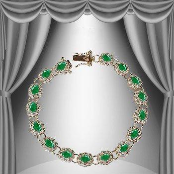 175: Genuine 9 CT Emerald Diamond Bracelet