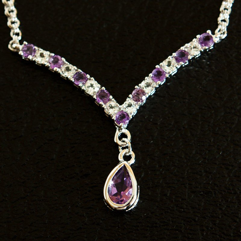 180: 4 CT Amethyst and White Sapphire Necklace