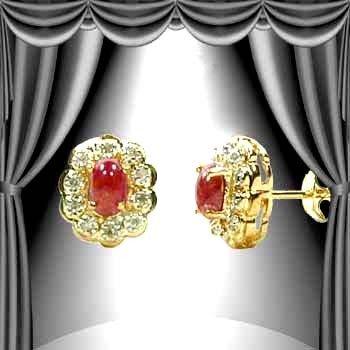 184: Genuine 1 CT Cabochon Ruby Diamond Earrings