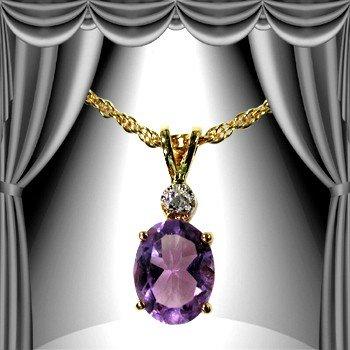 187: Genuine 1 CT Amethyst Diamond Pendant