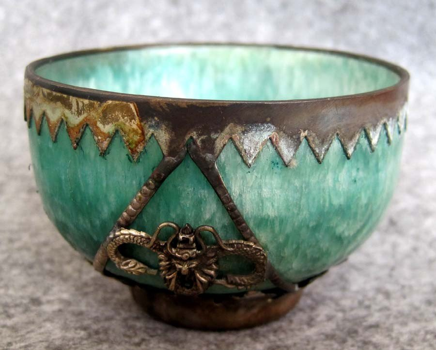 188: Handcrafted Natural Jade and Metal Alloy Carving