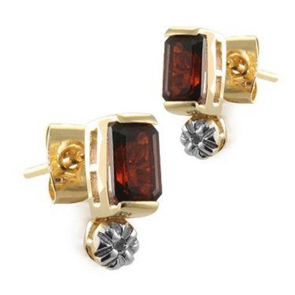 195: 1.3 CT Emerald Cut Garnet and Diamond Earrings
