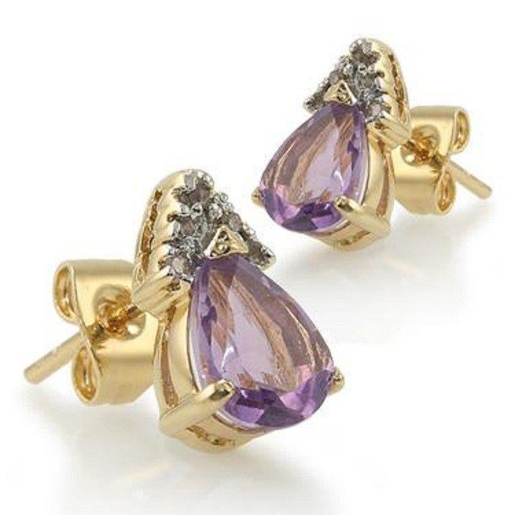 196: Genuine 3 CT Amethyst Diamond Teardrop Earrings