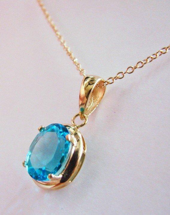 198: Genuine 1 CT Blue Topaz Diamond Pendant