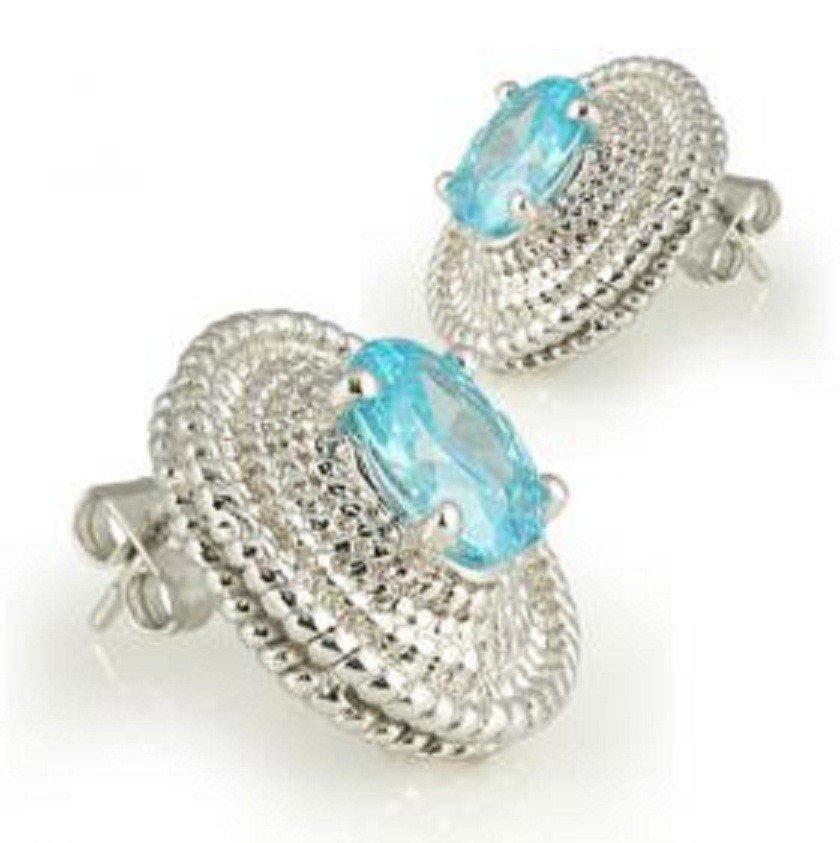 200: Genuine 1 CT Blue Topaz Earrings