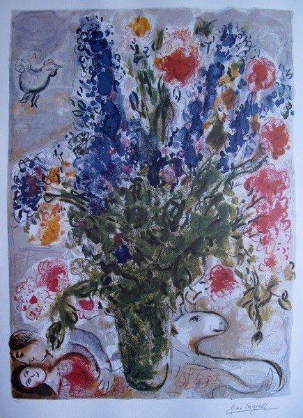 203: Marc Chagall LES LUPINS BLEU Ltd Ed. Lithograph