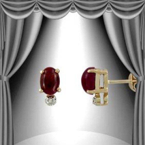 204: Genuine 1 CT Cabochon Ruby Diamond Stud Earrings