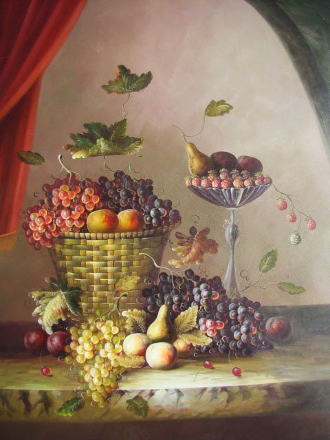 """205: Still Life Painting in Large 36x48 Size """"Basket of"""