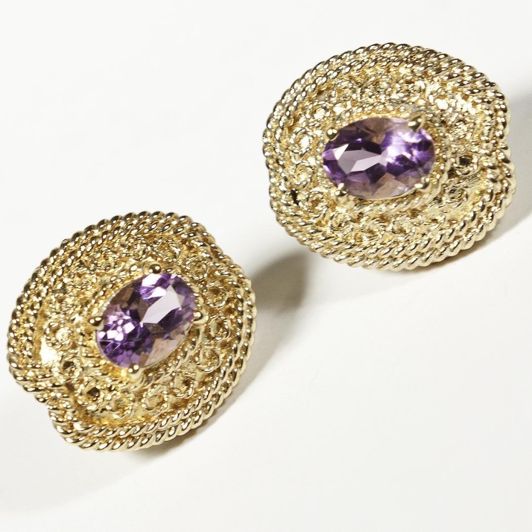 207: Genuine 1 CT Amethyst Earrings