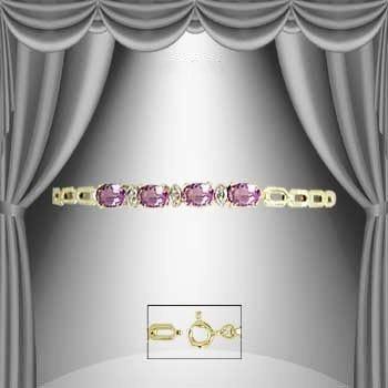 210: 3.8 CT Amethyst and Diamond Marquise Bracelet