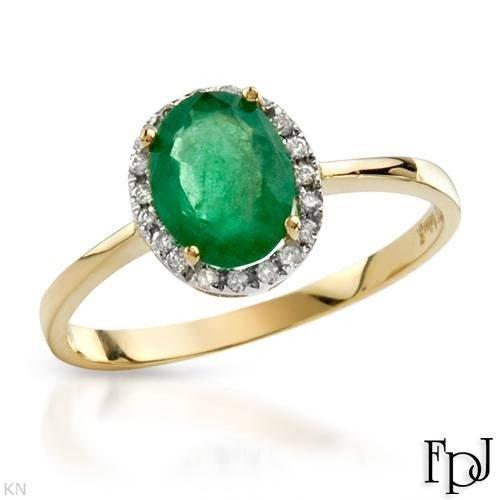 5:1.25 CTW Emerald 14K Gold Solitaire Plus Ring $6255