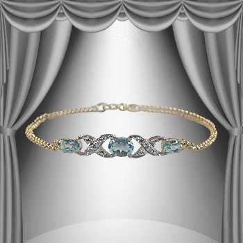 7: 4.7 CT Blue Topaz Diamond Bracelet