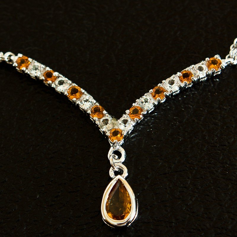 8: 4 CT Citrine and White Sapphire Necklace