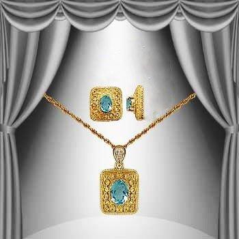 10: Genuine 2 CT Blue Topaz Diamond Museum Set