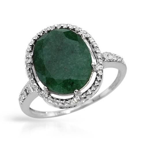 4:Solid White Gold 3.00 CTW Emerald Diamond Ring $5155