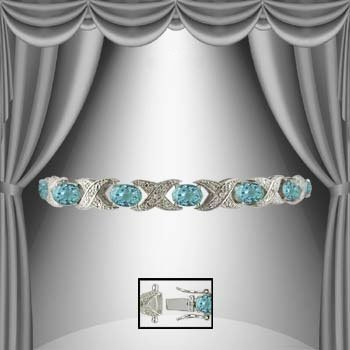 6: Amazing 12 CT Blue Topaz Diamond 18K Bracelet